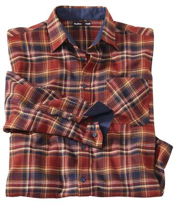 Men's Brick & Navy Checked Flannel Shirt
