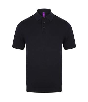 Henbury Mens Knitted Short Sleeve Polo Shirt (Navy) - UTPC2958