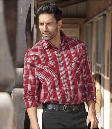 Men's Checked Western-Style Shirt - Cotton