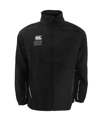 Canterbury Mens Team Full Zip Water Resistant Rain Jacket (Black/White) - UTPC2477
