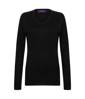 Henbury Womens Cashmere Touch Acrylic V-Neck Long Sleeve Jumper / Knitwear (Black) - UTRW2703