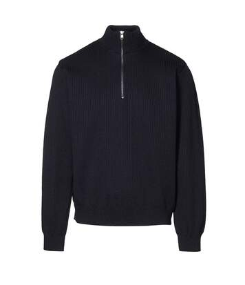 ID Mens Knitted Half Zip Pullover Fleece (Navy) - UTID398