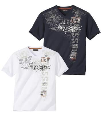 Lot de 2 Tee-Shirts Col V Imprimés Rider