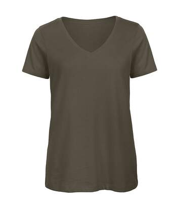 B&C Favourite - T-Shirt En Coton Bio À  Col V - Femme (Kaki) - UTBC3642