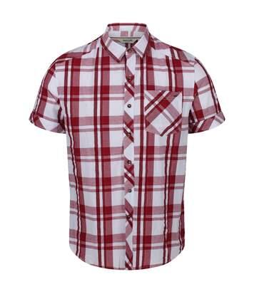 Regatta Mens Deakin III Short Sleeve Checked Shirt (White/Camo Green) - UTRG4053