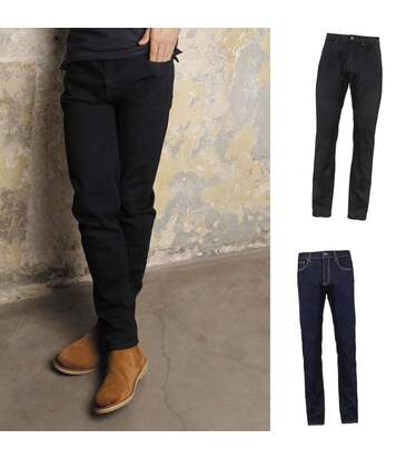 Lot 2 pantalons jean stretch confort homme - 03180 - noir et bleu denim