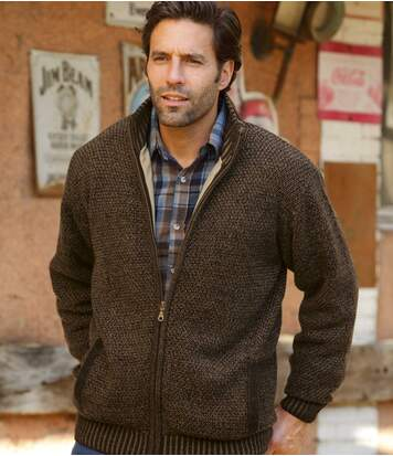 Men's Brown Arapaho Knitted Jacket with Fleece Lining - Full Zip