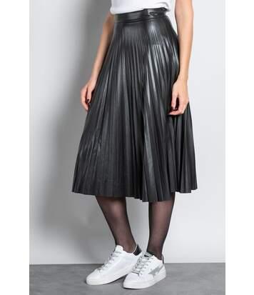 Jupe longue plissée effet cuir SISSY Black