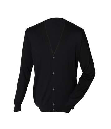 Henbury Mens V Neck Button Fine Knit Cardigan (Black) - UTRW661