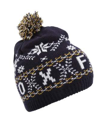 Unisex Fairisle Pattern Oxford Winter Bobble Hat (Navy) - UTHA385