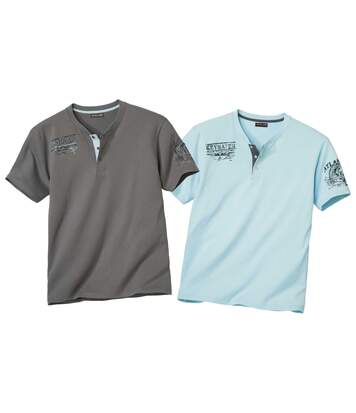 Pack of 2 Men's Button-Collar T-Shirts - Blue Grey