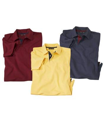 Pack of 3 Men's Classic Polo Shirts - Navy Burgundy Yellow