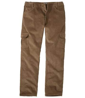 Men's Brown Stretch Corduroy Cargo Trousers