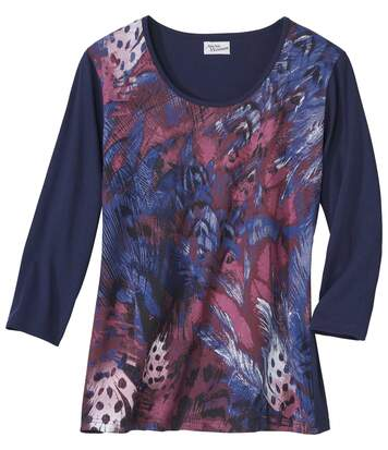 Women's Navy Feather Print T-Shirt