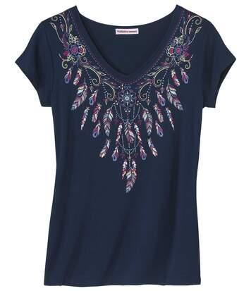 Women's Navy Feather Print T-Shirt