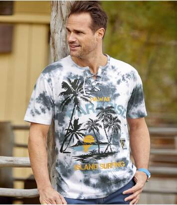 Men's Tropical Graphic Print T-Shirt - White Grey