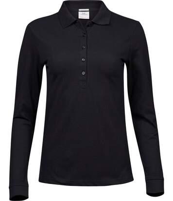 Polo femme luxury stretch - 146 - noir - manches longues