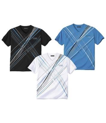 Pack of 3 Men's Sporty V-Neck T-Shirts - Blue White Black