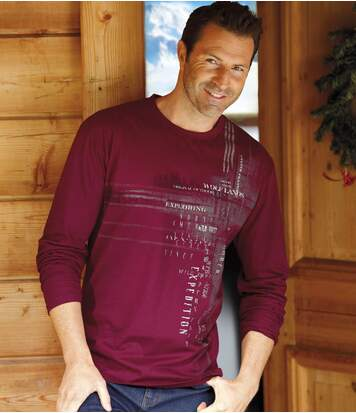 Set of 2 Men's Long Sleeve Tops - Burgundy Black - Original Explorer