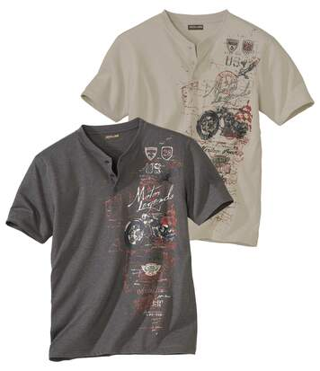 Sada 2 triček s potiskem se zapínáním u krku