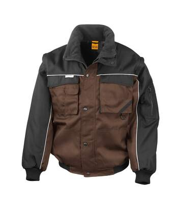 Result Mens Workguard Zip Sleeve Heavy Duty Water Repellent Windproof Jacket (Tan/Black) - UTBC931