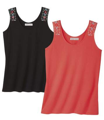 Pack of 2 Women's Summer Vest Tops - Black Coral
