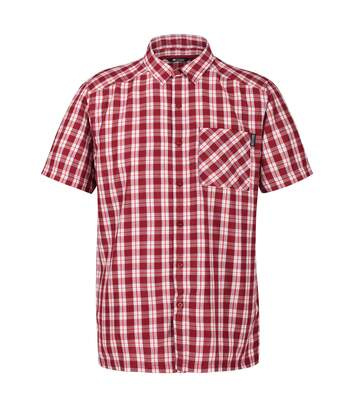 Regatta Mens Mindano V Short Sleeved Checked Shirt (Delhi Red) - UTRG4958