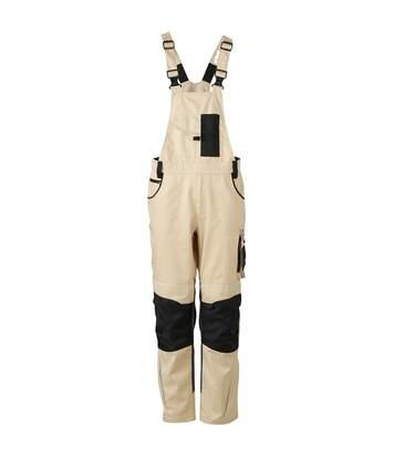 Pantalon de travail homme à bretelles - JN833 - beige - salopette artisan
