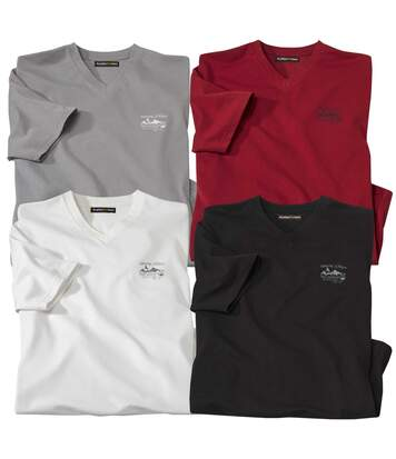 Pack of 4 Men's V-Neck Westlands T-Shirts - White Black Grey Burgundy
