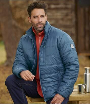 Men's Blue Lightweight Puffer Jacket - Water-Repellent - Full Zip