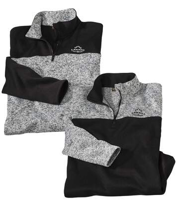 Pack of 2 Men's Outdoor Canada Brushed Fleece Jumpers - Grey Black