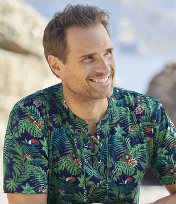 Men's Jungle Lace-Up T-Shirt - Blue Green