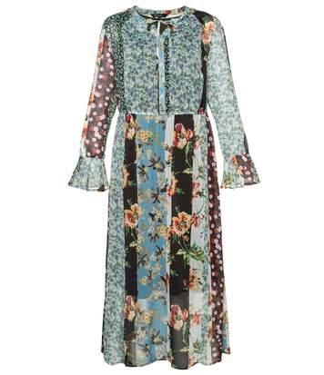 Robe tunique, voile transparent, imprimé floral
