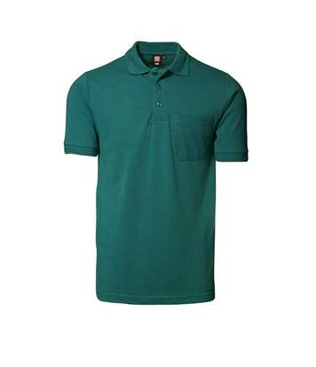 ID Mens Classic Short Sleeve Pique Regular Fitting Polo Shirt With Pocket (Green) - UTID182