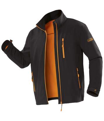 Men's Water-Repellent Microfleece-Lined Softshell Jacket - Black Orange - Full Zip