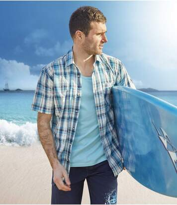 Blue Lagoon overhemd van gewafeld katoen