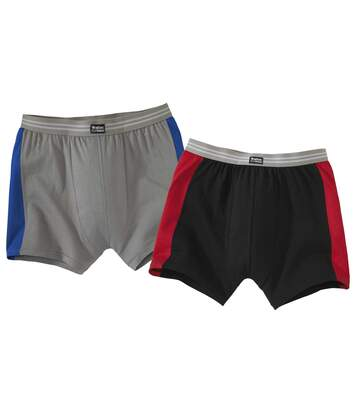 Pack of 2 Men's Stretch Comfort Boxer Shorts - Grey/Blue Black/Red