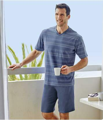 Men's Striped Short Pyjama Set - Blue Turquoise