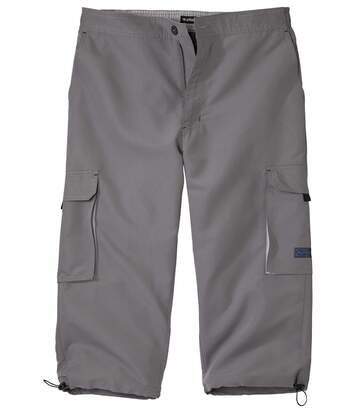 Men's Grey Cropped Cargo Trousers