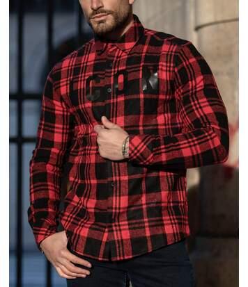 Chemise rouge à motifs carreaux noir ICON coupe cintrée pour homme