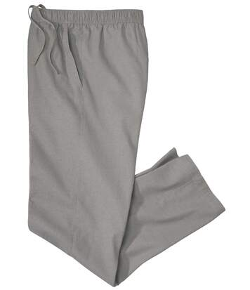 Men's Grey Casual Stretch Trousers - Cotton/Linen