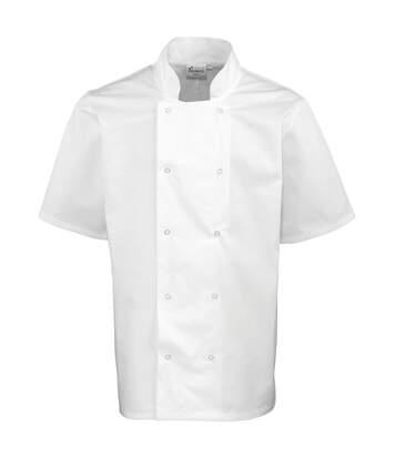 Premier Unisex Studded Front Short Sleeve Chefs Jacket (White) - UTRW1125