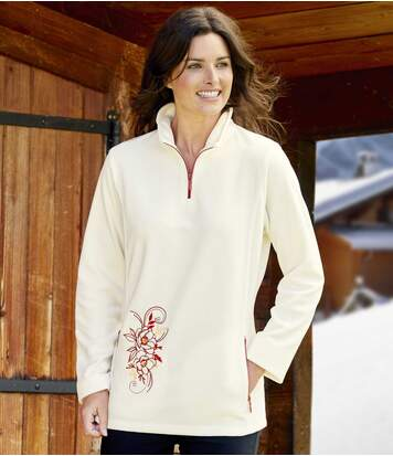 Women's Embroidered Half Zip Microfleece Jumper - Ecru