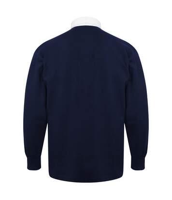 Front Row - Polo De Rugby À Manches Longues 100% Coton - Homme (Bleu marine/Blanc) - UTRW478