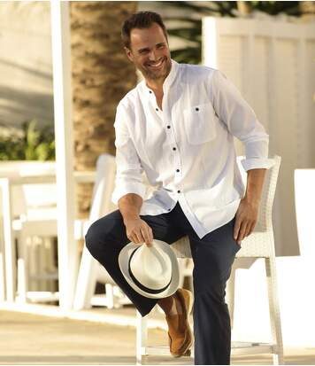 Men's White Crepe Shirt - Long Sleeves