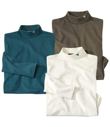Pack of 3 Men's Turtleneck Tops - Brown Ecru Blue