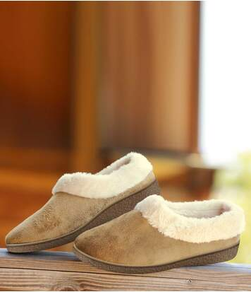 Women's Cosy Camel Sherpa-Lined Slippers