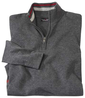 Men's Grey Merino Wool and Cashmere Jumper