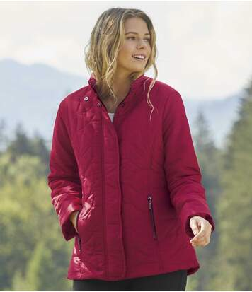 Women's Vibrant Red Quilted Jacket