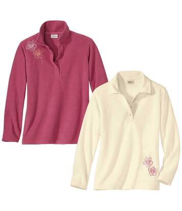 Pack of 2 Women's Embroidered Microfleece Jumpers - Pink White